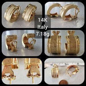 14K Gold J Hook Earrings 7.18g Italy